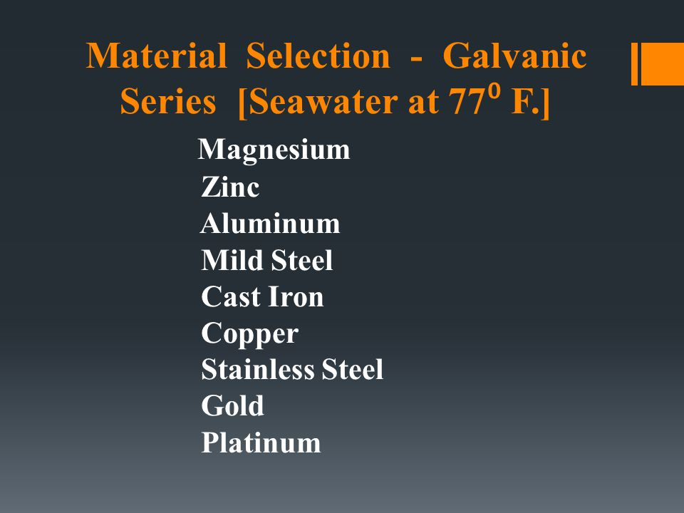 Material Selection - Galvanic Series [Seawater at 77⁰ F.]